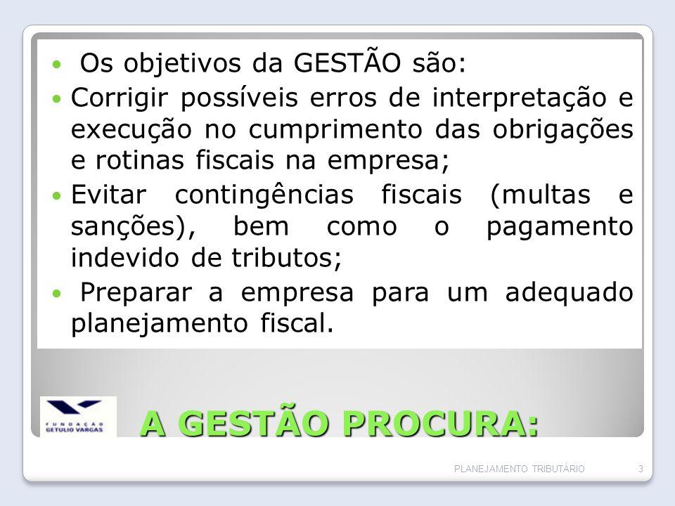 A GESTÃO PROCURA: Os objetivos da GESTÃO são: Corrigir possíveis erros de interpretação e execução no cumprimento das obrigações e rotinas fiscais na