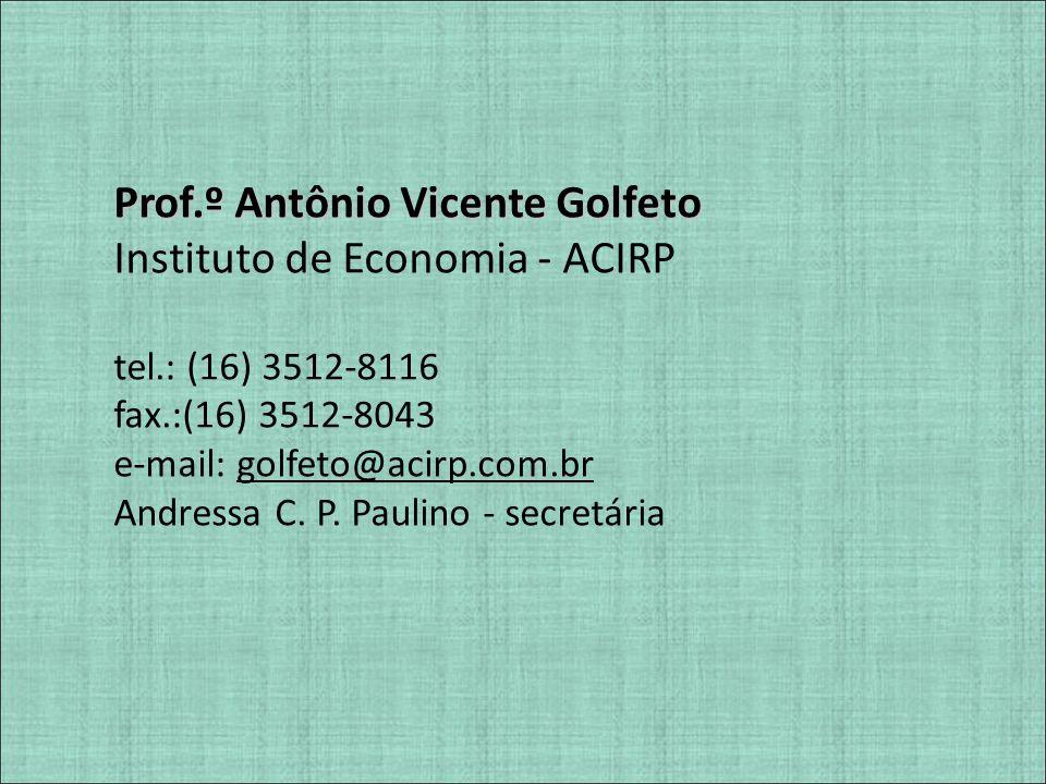 Prof.º Antônio Vicente Golfeto Instituto de Economia - ACIRP tel.: (16) 3512-8116 fax.:(16) 3512-8043 e-mail: golfeto@acirp.com.br Andressa C. P. Paul