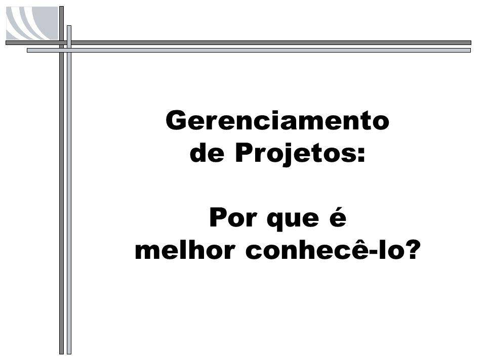 PMI Project Management Institute Criado em 1969, na Filadélfia, PA, EUA Mais de 238 mil membros em 164 países Mais de 240 capítulos locais em 67 países 30 SIGs – Grupos de Interesse Específico Mais de 228 mil PMPs no mundo Mais de 5 mil PMPs no Brasil
