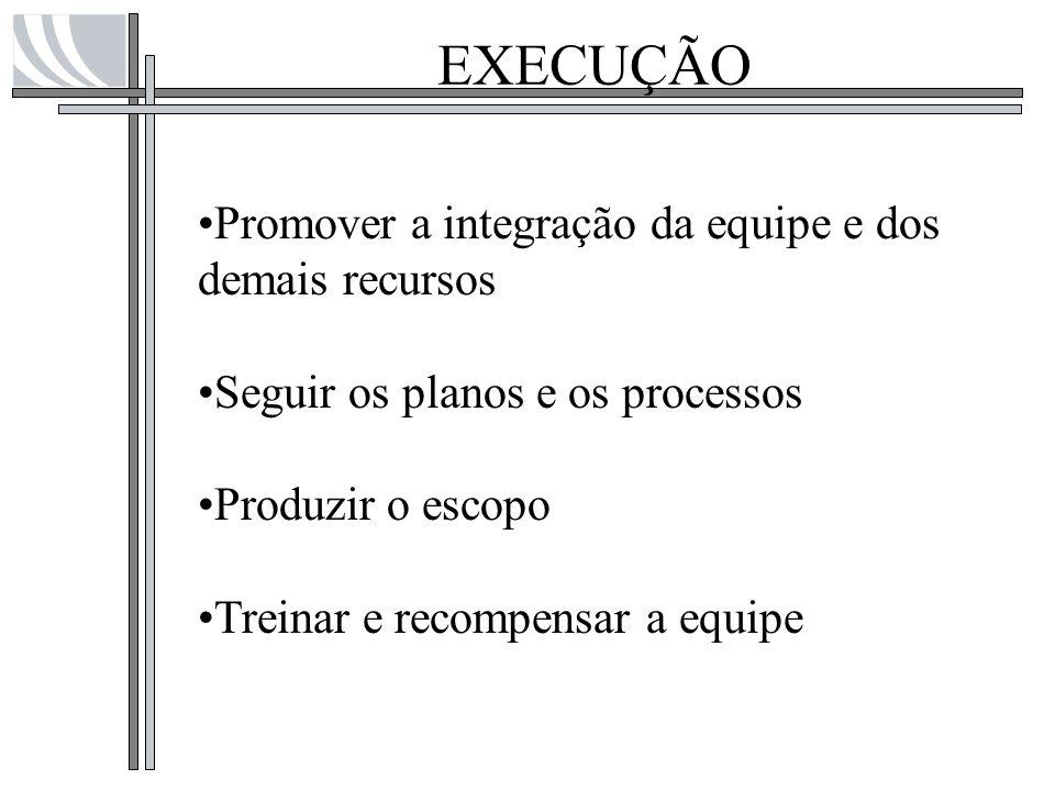 EXECUÇÃO Promover a integração da equipe e dos demais recursos Seguir os planos e os processos Produzir o escopo Treinar e recompensar a equipe