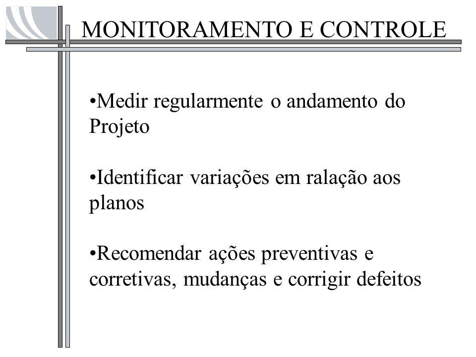MONITORAMENTO E CONTROLE Medir regularmente o andamento do Projeto Identificar variações em ralação aos planos Recomendar ações preventivas e corretiv