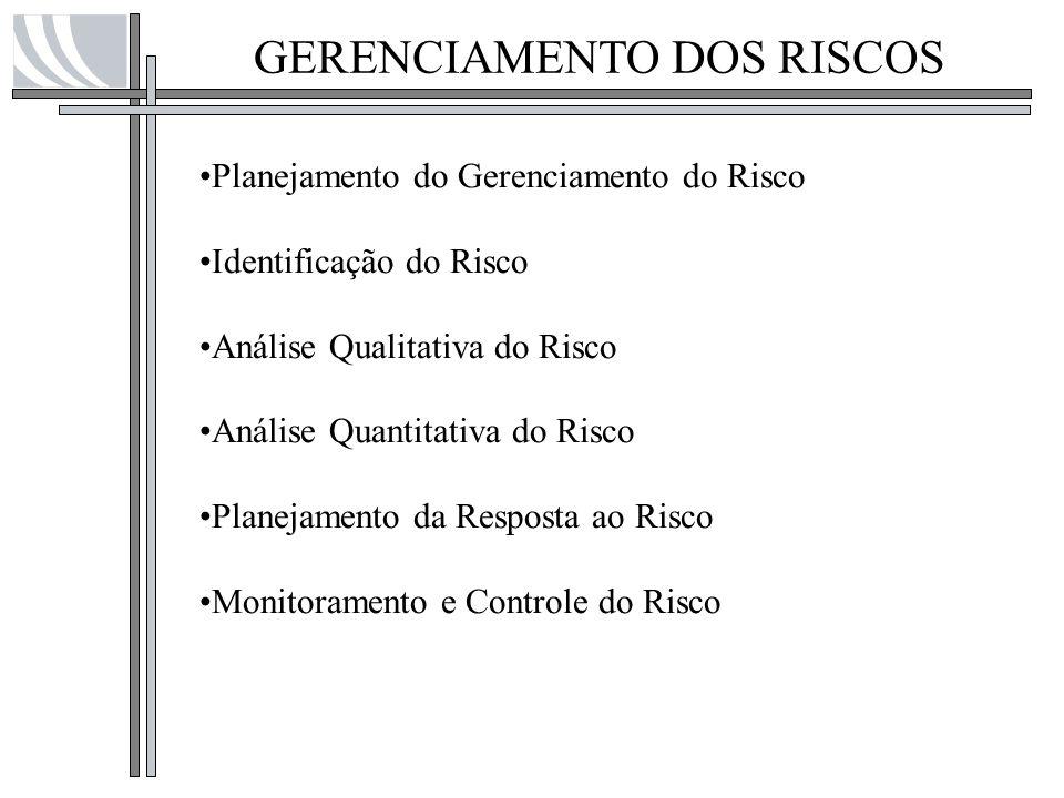 GERENCIAMENTO DOS RISCOS Planejamento do Gerenciamento do Risco Identificação do Risco Análise Qualitativa do Risco Análise Quantitativa do Risco Plan