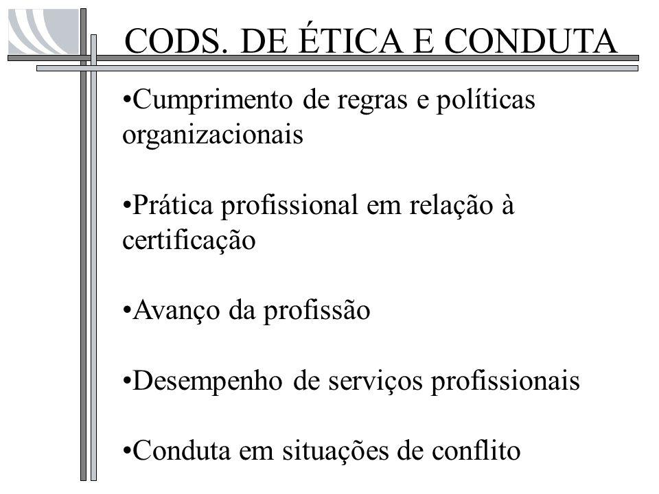 CODS. DE ÉTICA E CONDUTA Cumprimento de regras e políticas organizacionais Prática profissional em relação à certificação Avanço da profissão Desempen