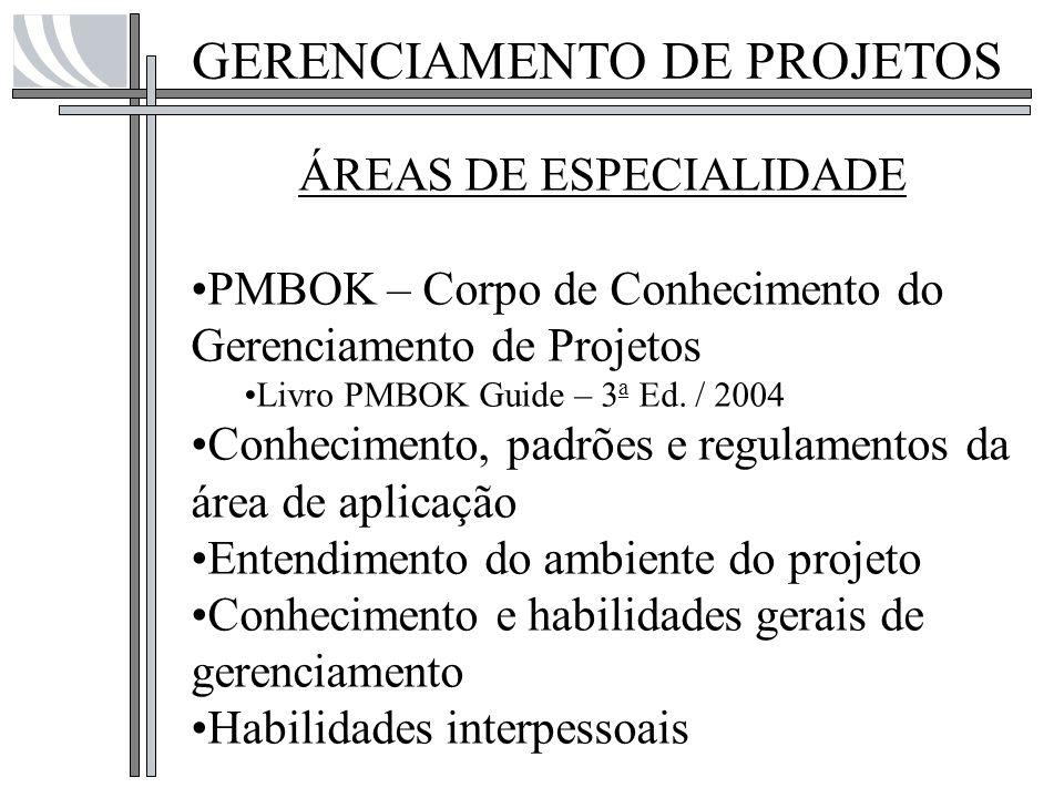 GERENCIAMENTO DE PROJETOS ÁREAS DE ESPECIALIDADE PMBOK – Corpo de Conhecimento do Gerenciamento de Projetos Livro PMBOK Guide – 3 a Ed. / 2004 Conheci