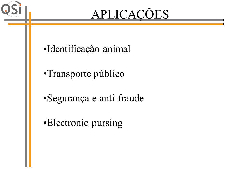 Identificação animal Transporte público Segurança e anti-fraude Electronic pursing APLICAÇÕES