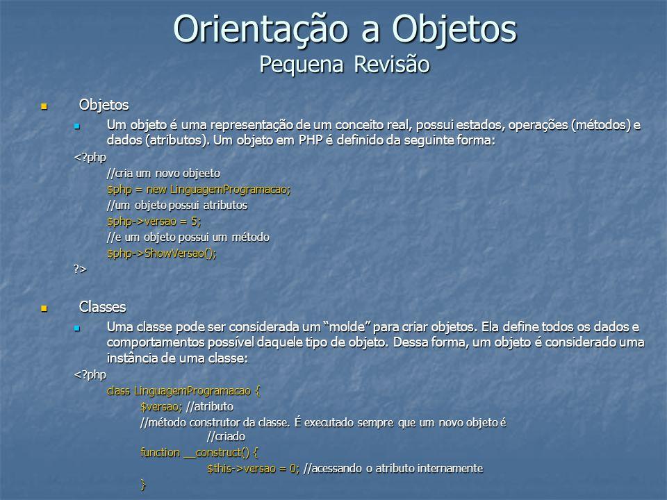 Orientação a Objetos Pequena Revisão Objetos Objetos Um objeto é uma representação de um conceito real, possui estados, operações (métodos) e dados (a