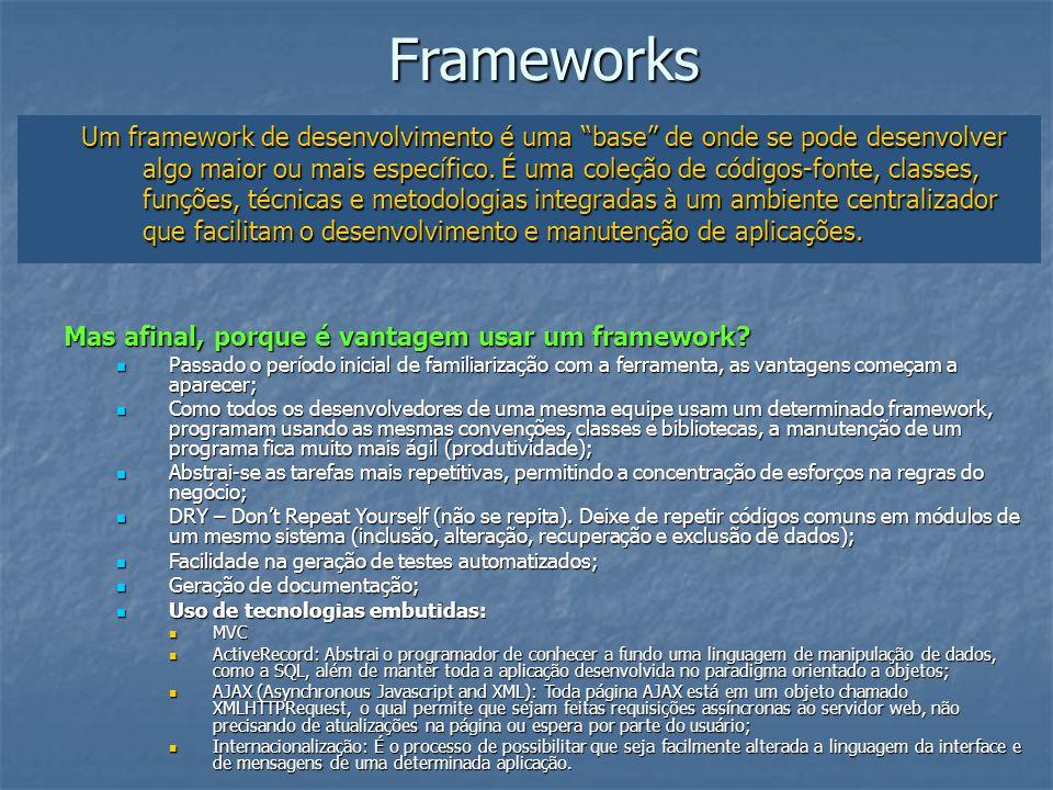 Frameworks Um framework de desenvolvimento é uma base de onde se pode desenvolver algo maior ou mais específico. É uma coleção de códigos-fonte, class