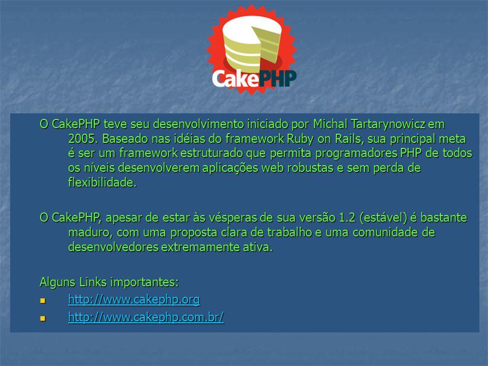 O CakePHP teve seu desenvolvimento iniciado por Michal Tartarynowicz em 2005. Baseado nas idéias do framework Ruby on Rails, sua principal meta é ser