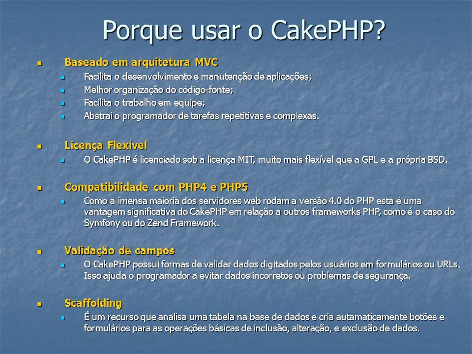 Porque usar o CakePHP? Baseado em arquitetura MVC Baseado em arquitetura MVC Facilita o desenvolvimento e manutenção de aplicações; Facilita o desenvo