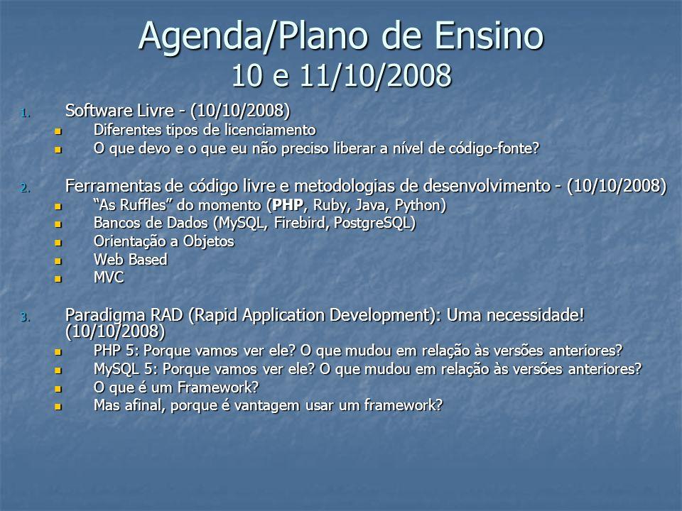 Agenda/Plano de Ensino 10 e 11/10/2008 1. Software Livre - (10/10/2008) Diferentes tipos de licenciamento Diferentes tipos de licenciamento O que devo