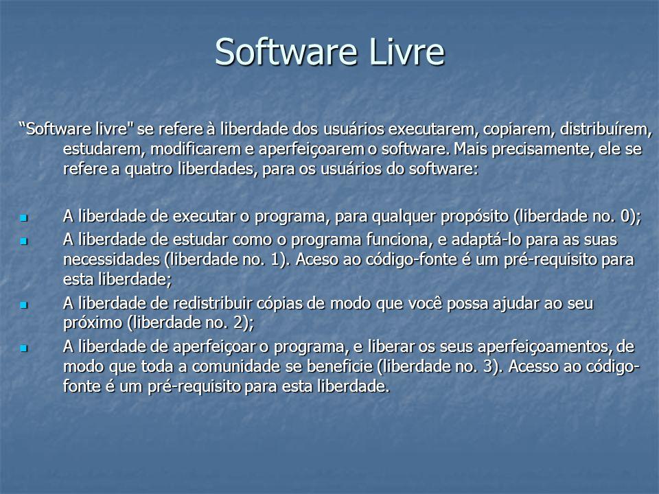 Software Livre Diferenças entre as principais licenças de software GPL GPL GNU GPL ou simplesmente GPL, é a designação da licença para software livre idealizada por Richard Stallman no final da década de 1980, no âmbito do projecto GNU da Free Software Foundation (FSF).