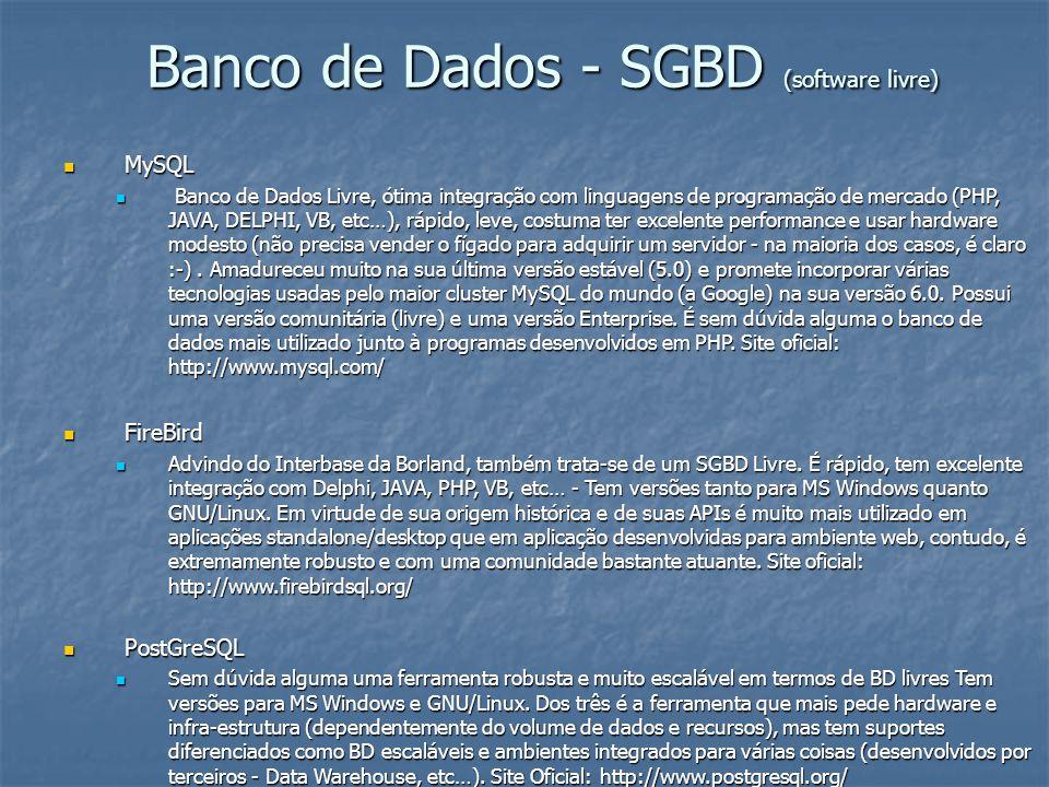 Banco de Dados - SGBD (software livre) MySQL MySQL Banco de Dados Livre, ótima integração com linguagens de programação de mercado (PHP, JAVA, DELPHI,
