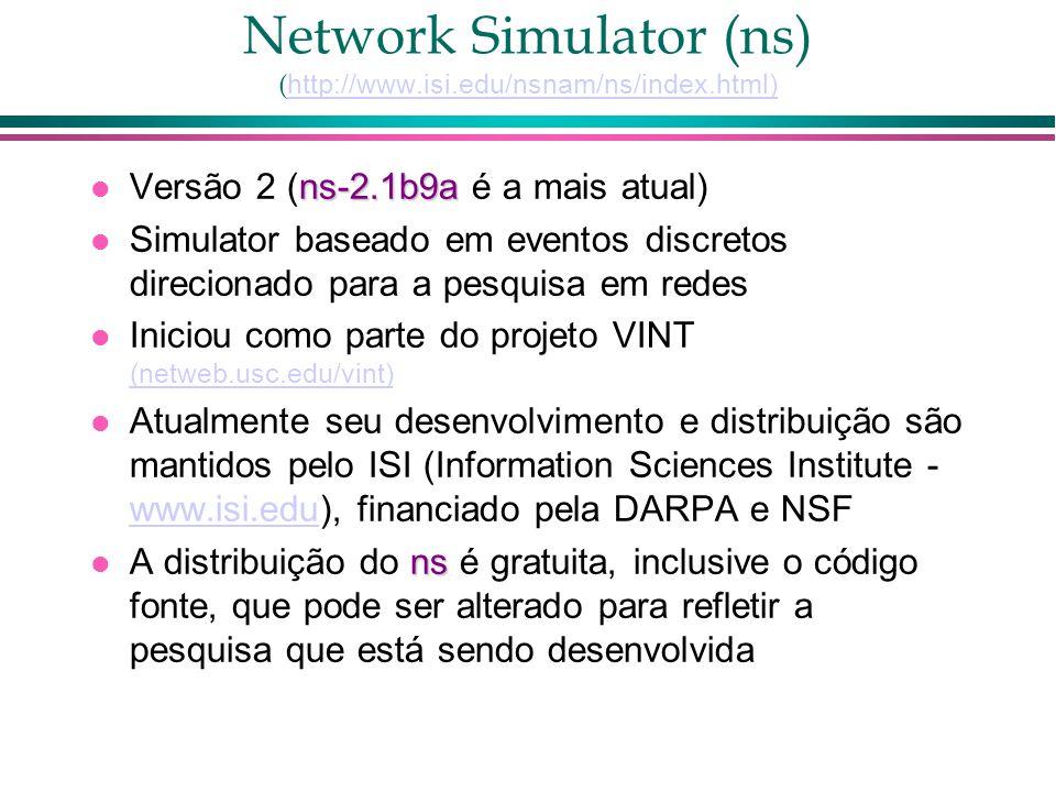 Network Simulator (ns) ( http://www.isi.edu/nsnam/ns/index.html) http://www.isi.edu/nsnam/ns/index.html) ns-2.1b9a Versão 2 (ns-2.1b9a é a mais atual) Simulator baseado em eventos discretos direcionado para a pesquisa em redes Iniciou como parte do projeto VINT (netweb.usc.edu/vint) (netweb.usc.edu/vint) Atualmente seu desenvolvimento e distribuição são mantidos pelo ISI (Information Sciences Institute - www.isi.edu), financiado pela DARPA e NSF www.isi.edu ns A distribuição do ns é gratuita, inclusive o código fonte, que pode ser alterado para refletir a pesquisa que está sendo desenvolvida