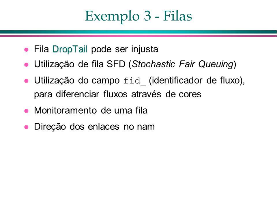 Exemplo 3 - Filas DropTail Fila DropTail pode ser injusta Utilização de fila SFD (Stochastic Fair Queuing) Utilização do campo fid_ (identificador de fluxo), para diferenciar fluxos através de cores Monitoramento de uma fila Direção dos enlaces no nam