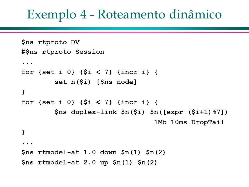 Exemplo 4 - Roteamento dinâmico $ns rtproto DV #$ns rtproto Session...