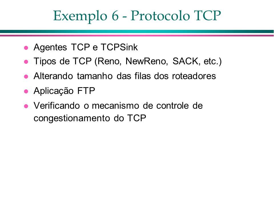 Exemplo 6 - Protocolo TCP Agentes TCP e TCPSink Tipos de TCP (Reno, NewReno, SACK, etc.) Alterando tamanho das filas dos roteadores Aplicação FTP Verificando o mecanismo de controle de congestionamento do TCP