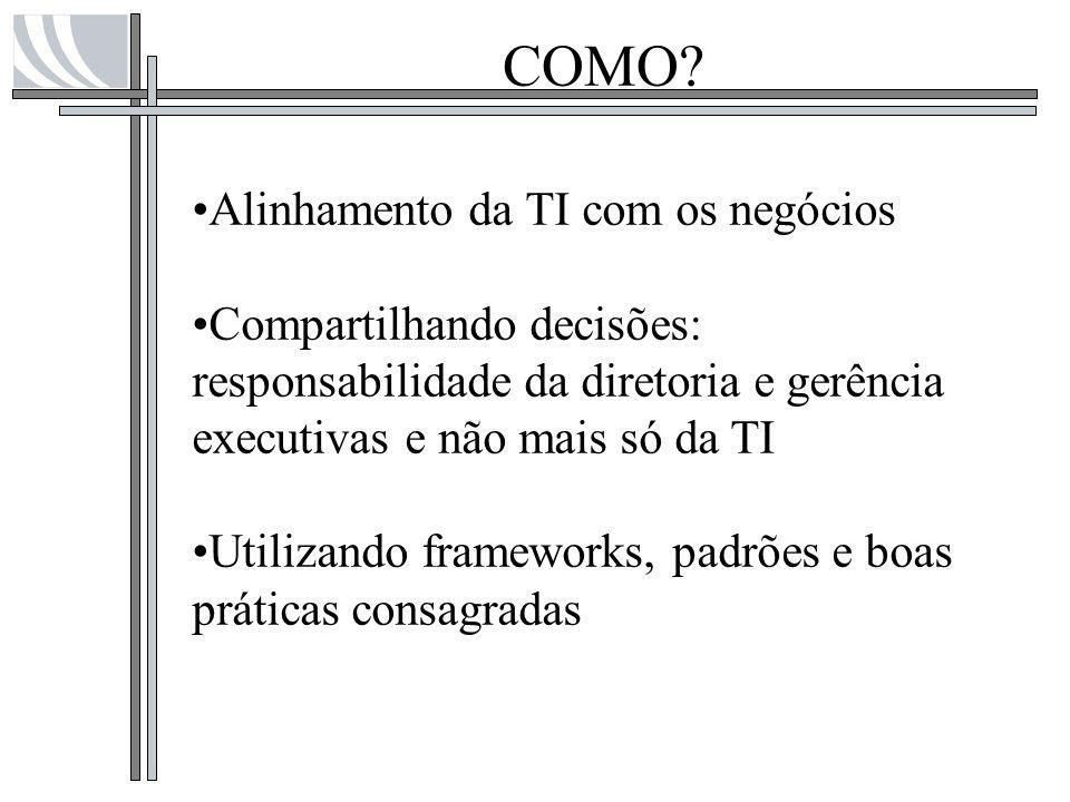 COMO? Alinhamento da TI com os negócios Compartilhando decisões: responsabilidade da diretoria e gerência executivas e não mais só da TI Utilizando fr