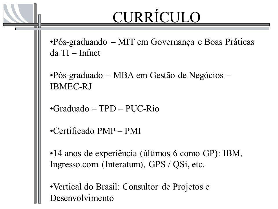 CURRÍCULO Pós-graduando – MIT em Governança e Boas Práticas da TI – Infnet Pós-graduado – MBA em Gestão de Negócios – IBMEC-RJ Graduado – TPD – PUC-Ri