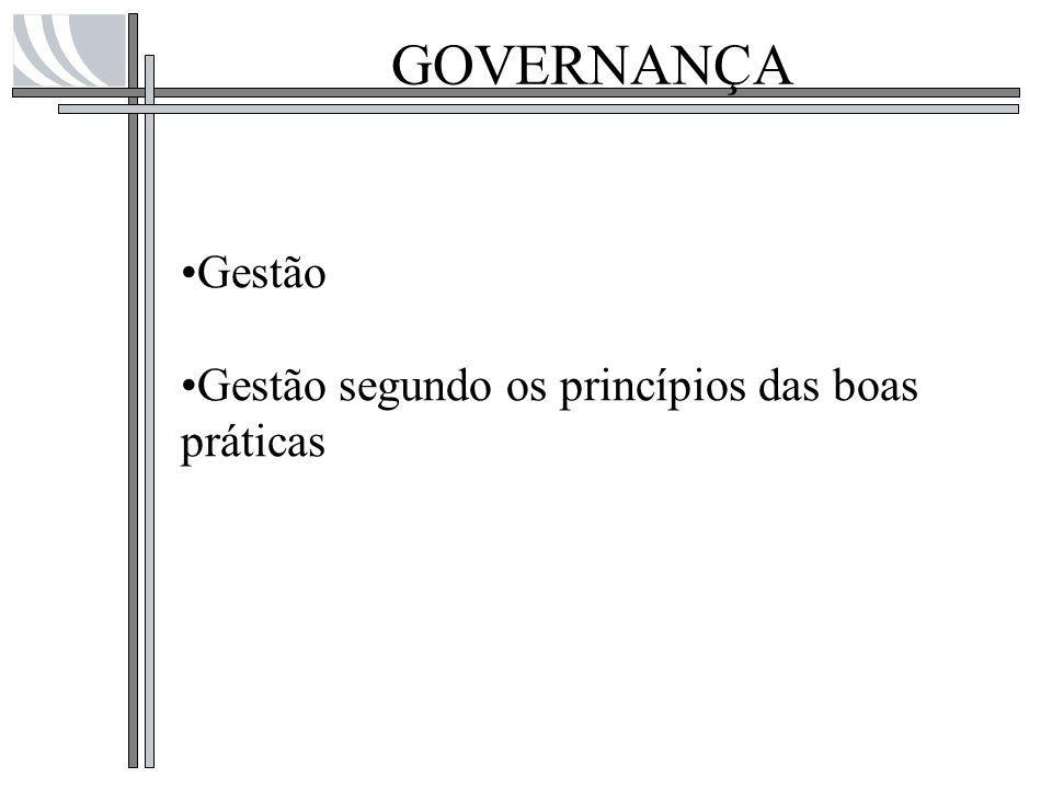 GOVERNANÇA Gestão Gestão segundo os princípios das boas práticas