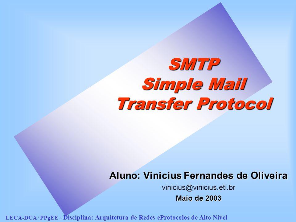 SMTP - Agenda IntroduçãoIntrodução –Considerações gerais –Formato das mensagens –Endereços de correio eletrônico Modelo para a utilização do SMTPModelo para a utilização do SMTP Procedimentos do SMTPProcedimentos do SMTP Comandos do SMTPComandos do SMTP Códigos de retorno do SMTPCódigos de retorno do SMTP Extensões do SMTP ( ESMTP )Extensões do SMTP ( ESMTP ) ConclusãoConclusão