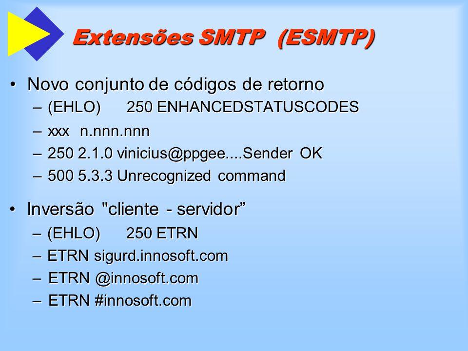 Extensões SMTP (ESMTP) Novo conjunto de códigos de retornoNovo conjunto de códigos de retorno –(EHLO)250 ENHANCEDSTATUSCODES –(EHLO) 250 ENHANCEDSTATU
