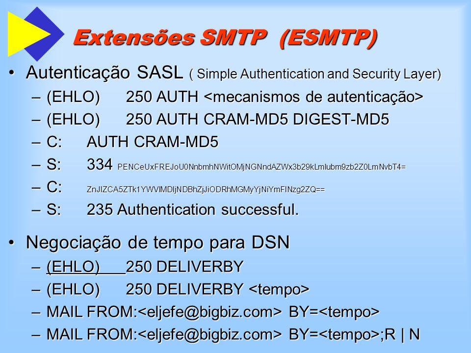 Extensões SMTP (ESMTP) Autenticação SASL ( Simple Authentication and Security Layer)Autenticação SASL ( Simple Authentication and Security Layer) –(EH