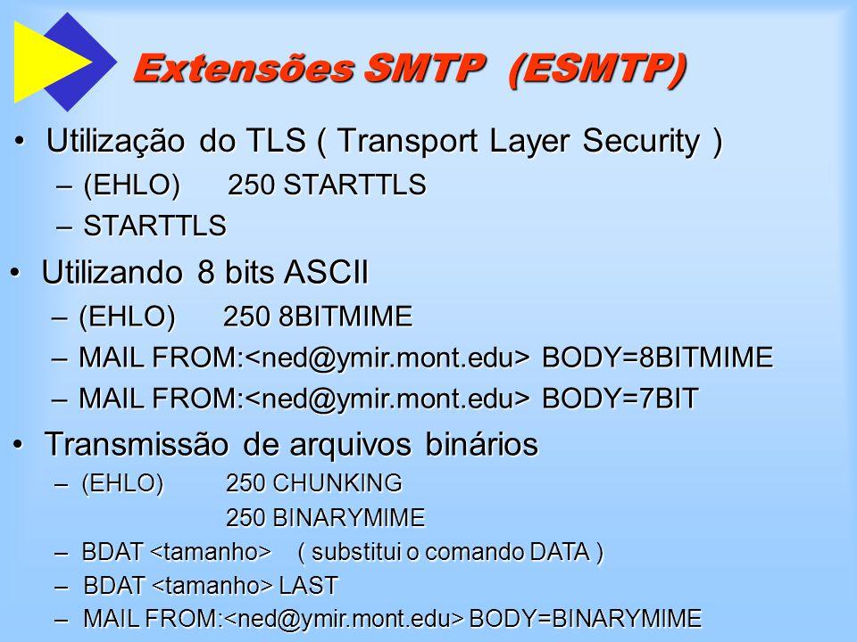 Extensões SMTP (ESMTP) Utilização do TLS ( Transport Layer Security )Utilização do TLS ( Transport Layer Security ) –(EHLO)250 STARTTLS –STARTTLS Util