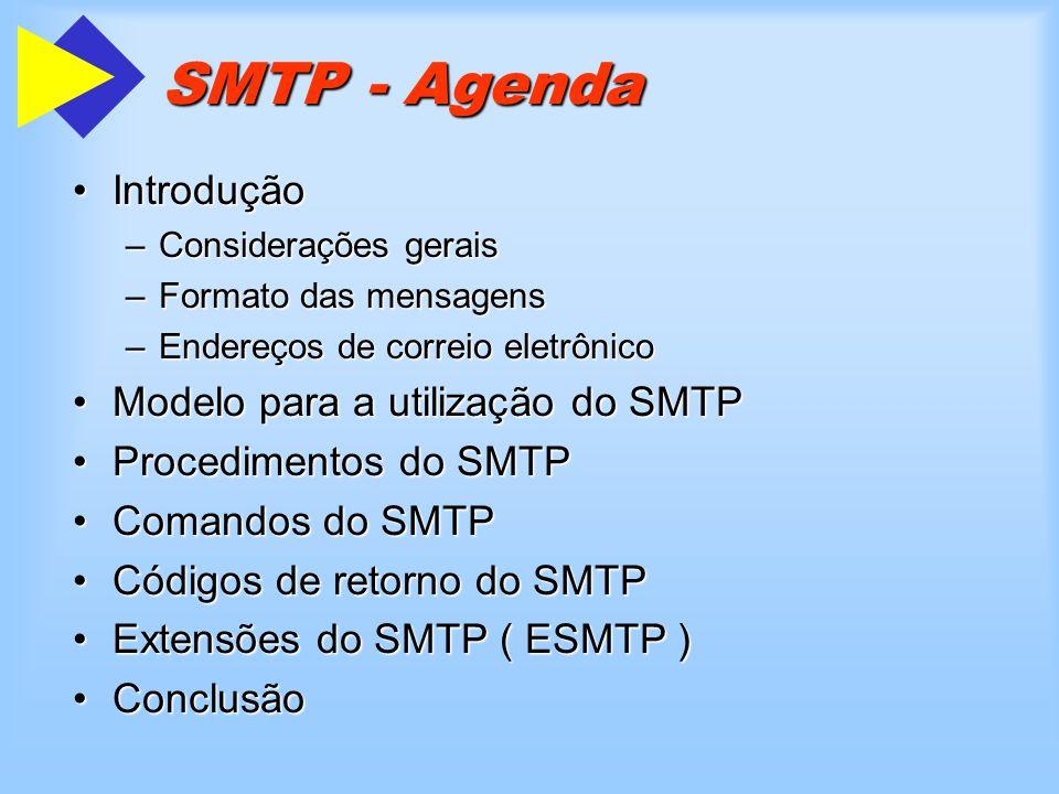 Introdução SMTP Considerações gerais RFC 2821 (ex-821) é a recomendação mais atualRFC 2821 (ex-821) é a recomendação mais atual Correio eletrônico é o serviço mais utilizado na webCorreio eletrônico é o serviço mais utilizado na web –O protocolo SMTP é o mais utilizado nesse serviço O protocolo SMTP é composto apenas de pares terminado com O protocolo SMTP é composto apenas de pares terminado com O protocolo SMTP não deve ser confundido com o serviço de correio eletrônicoO protocolo SMTP não deve ser confundido com o serviço de correio eletrônico –ele faz uma simples transferência de correspondência Foi concebido para transferir apenas texto ASCIIFoi concebido para transferir apenas texto ASCII –existem muitas extensões para transpor essa limitação