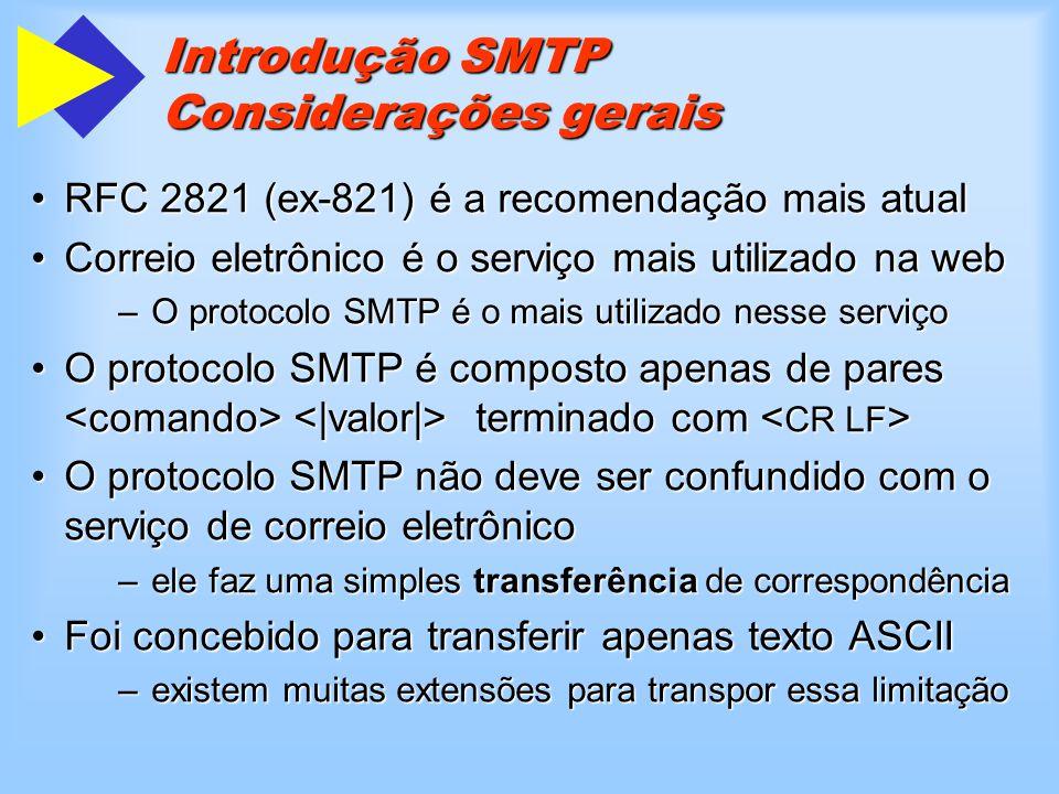 Introdução SMTP Considerações gerais Pode ser utilizado em diferentes ambientes de correio eletrônicoPode ser utilizado em diferentes ambientes de correio eletrônico –utiliza-se de um gateway SMTP SMTP faz uso intenso do DNSSMTP faz uso intenso do DNS O SMTP é independente do nível de transporteO SMTP é independente do nível de transporte –TCP - o único tratado na atual recomendação.