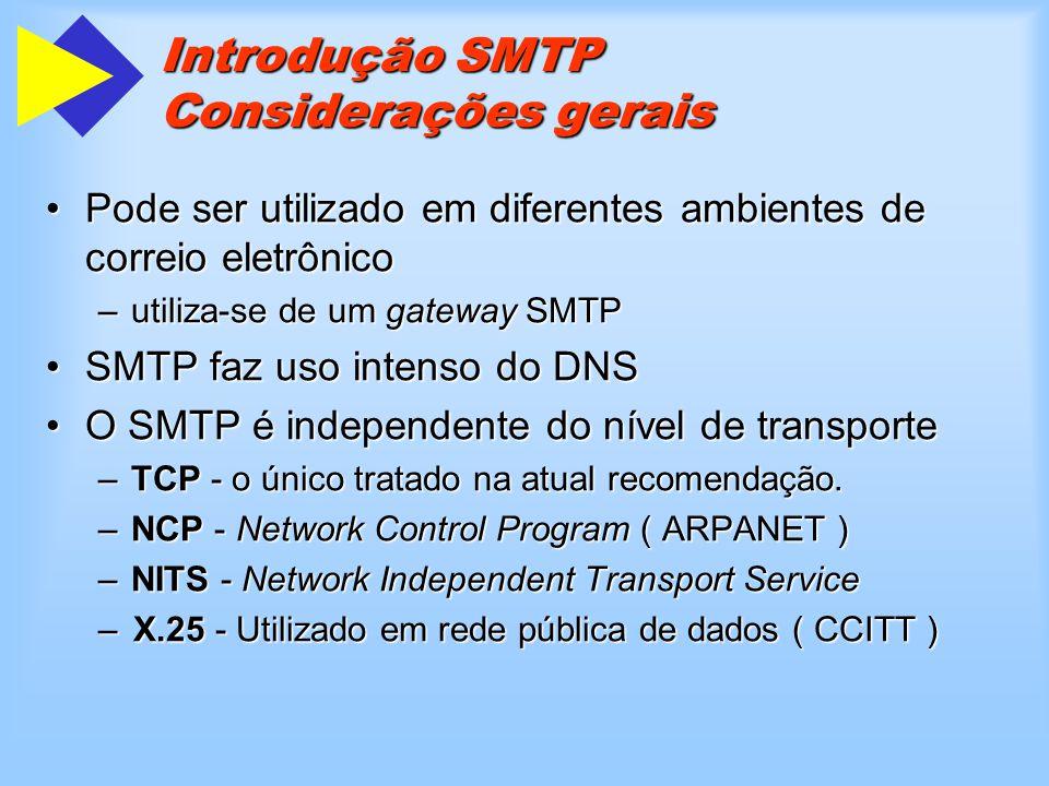 Introdução SMTP Formato das mensagens Importância do formato das mensagens para o SMTP:Importância do formato das mensagens para o SMTP: –As interfaces de usuário costumam montar os comandos SMTP a partir das informações existentes na mensagem.