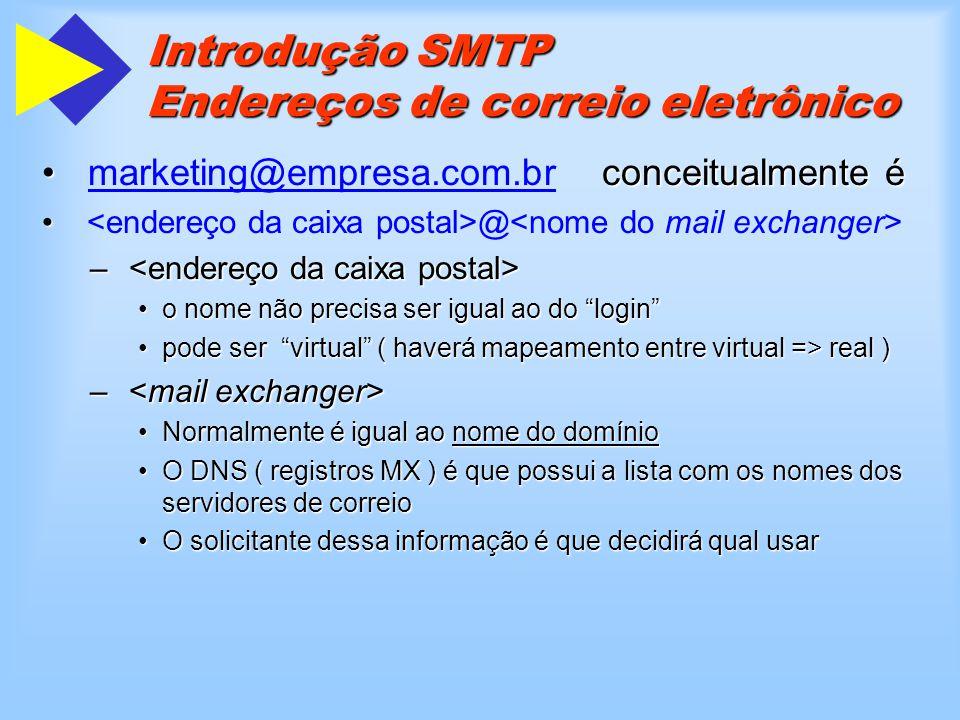 Introdução SMTP Endereços de correio eletrônico @ – é um gateway SMTP – é o formato do endereço no outro ambiente de rede Os gateways decodificam essa informação através de um conjunto de regras ou mapeamentosOs gateways decodificam essa informação através de um conjunto de regras ou mapeamentos é um exemplo de nome por formação de regras:marketing-uucp.vendas@empresa.com.br é um exemplo de nome por formação de regras: –marketing é a caixa postal –uucp é um servidor unix –vendas é o hostname –pseudodomínios só oferecem serviço de correio eletrônico