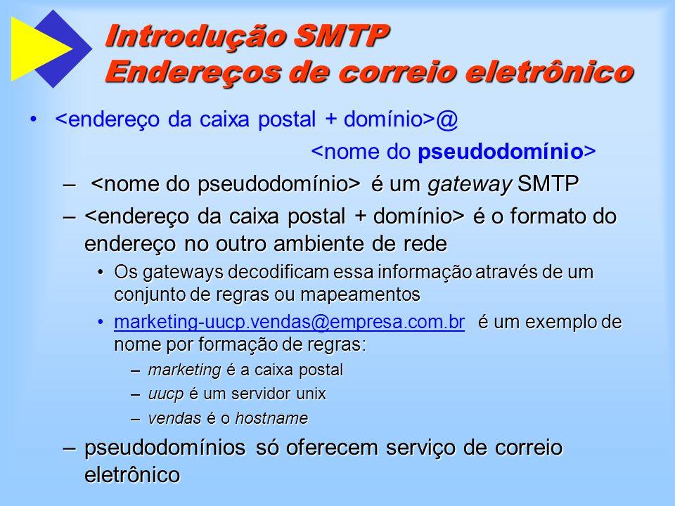 Extensões SMTP (ESMTP) Utilização do TLS ( Transport Layer Security )Utilização do TLS ( Transport Layer Security ) –(EHLO)250 STARTTLS –STARTTLS Utilizando 8 bits ASCIIUtilizando 8 bits ASCII –(EHLO)250 8BITMIME –MAIL FROM: BODY=8BITMIME –MAIL FROM: BODY=7BIT Transmissão de arquivos bináriosTransmissão de arquivos binários –(EHLO)250 CHUNKING 250 BINARYMIME –BDAT ( substitui o comando DATA ) –BDAT LAST –MAIL FROM: BODY=BINARYMIME