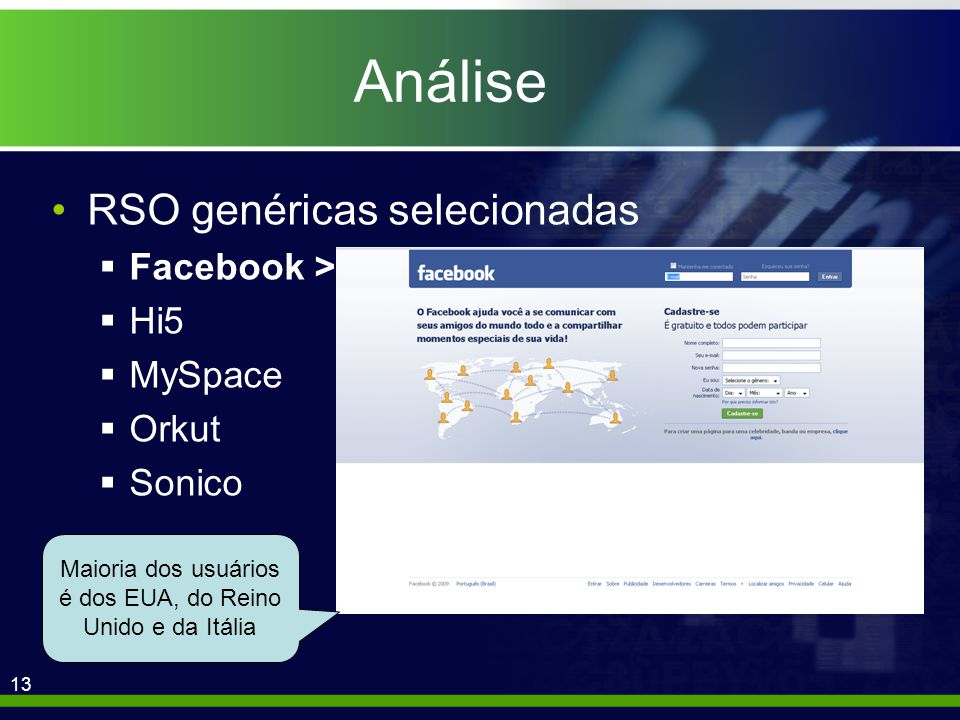 13 Análise RSO genéricas selecionadas Facebook > Hi5 MySpace Orkut Sonico Maioria dos usuários é dos EUA, do Reino Unido e da Itália