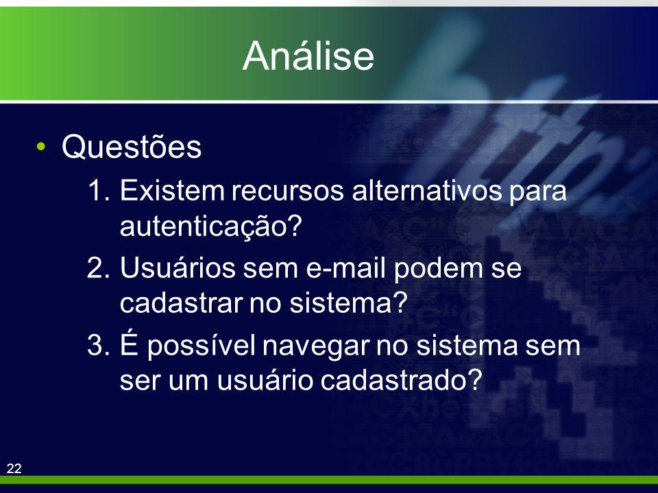 22 Análise Questões 1.Existem recursos alternativos para autenticação.