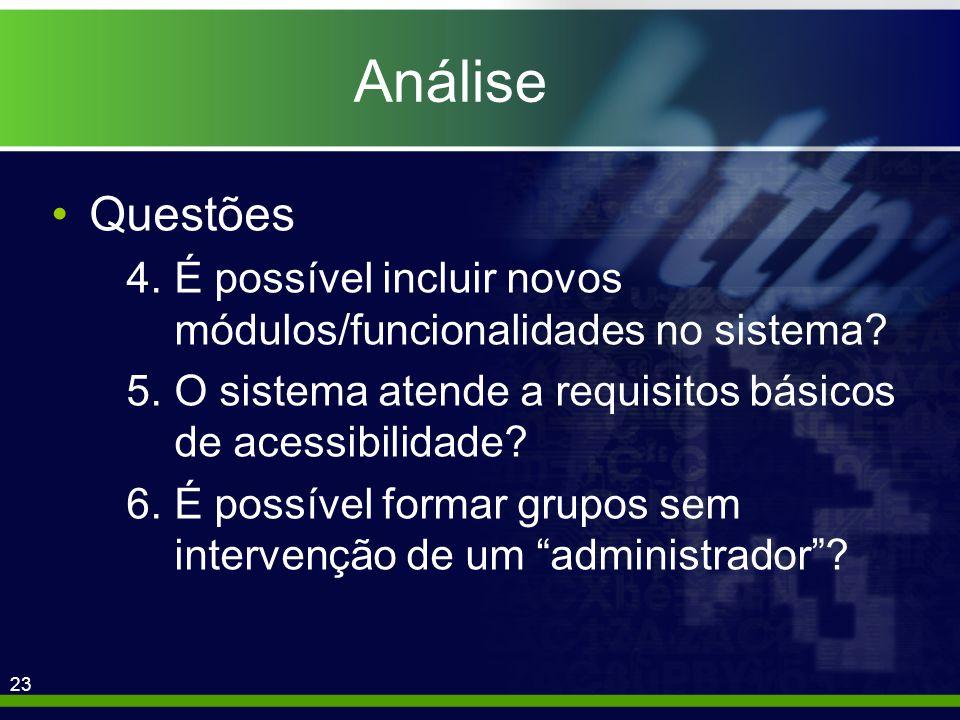 23 Análise Questões 4.É possível incluir novos módulos/funcionalidades no sistema.