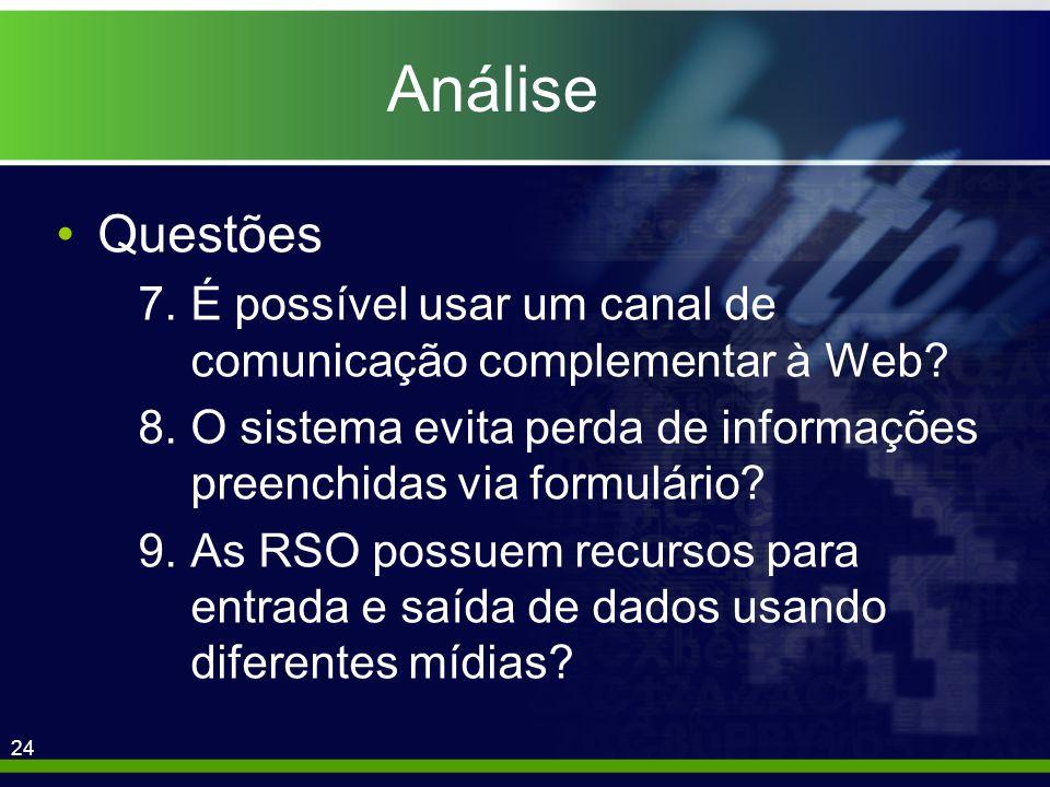 24 Análise Questões 7.É possível usar um canal de comunicação complementar à Web.