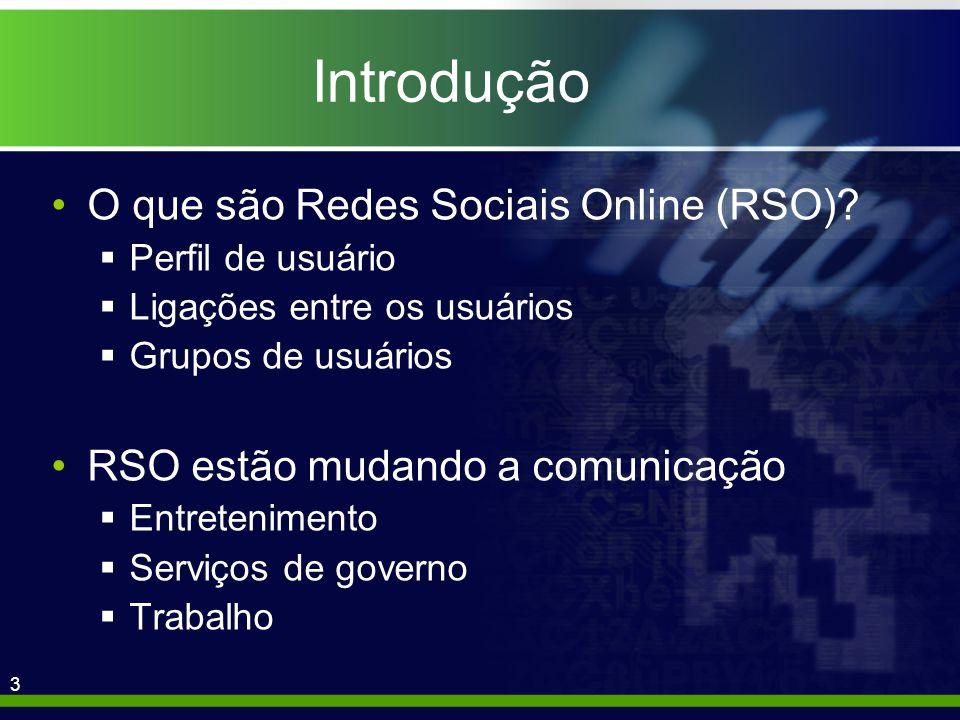 14 Análise RSO genéricas selecionadas Facebook Hi5 > MySpace Orkut Sonico Maioria dos usuários é de países da América do Sul, do México e da Tailândia