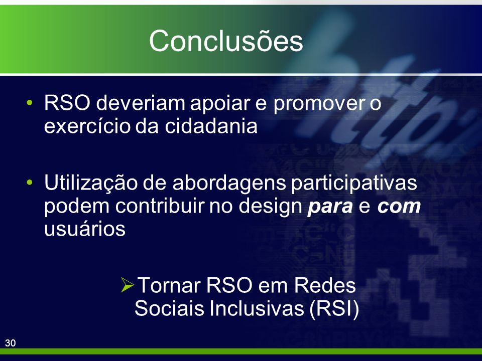 30 Conclusões RSO deveriam apoiar e promover o exercício da cidadania Utilização de abordagens participativas podem contribuir no design para e com usuários Tornar RSO em Redes Sociais Inclusivas (RSI)