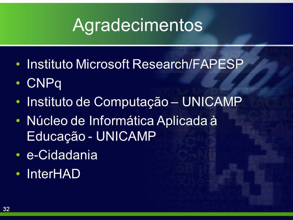 32 Agradecimentos Instituto Microsoft Research/FAPESP CNPq Instituto de Computação – UNICAMP Núcleo de Informática Aplicada à Educação - UNICAMP e-Cidadania InterHAD