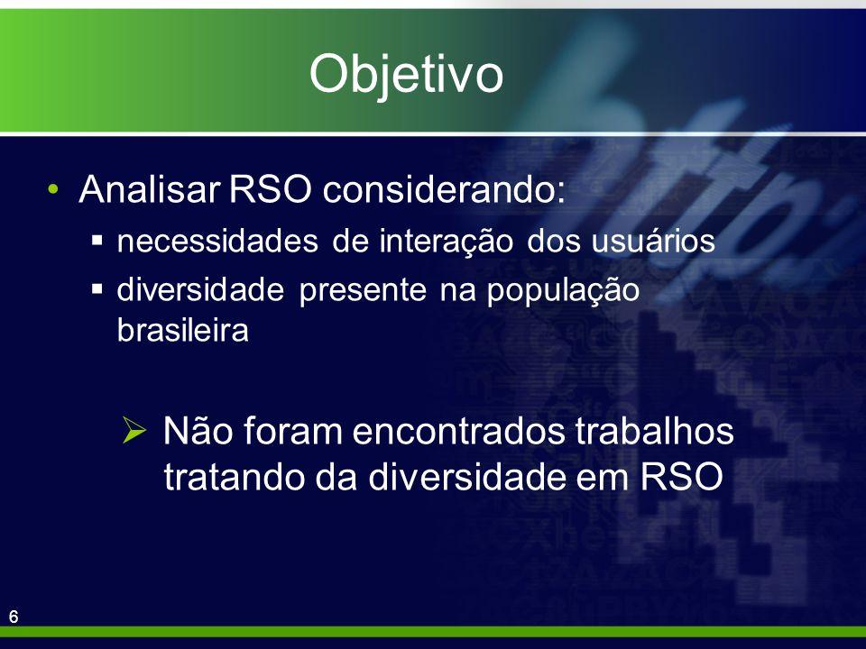 6 Objetivo Analisar RSO considerando: necessidades de interação dos usuários diversidade presente na população brasileira Não foram encontrados trabalhos tratando da diversidade em RSO