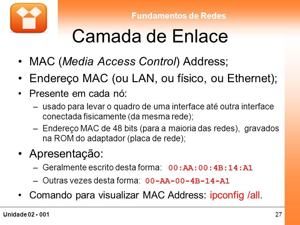 27Unidade 02 - 001 Fundamentos de Redes Camada de Enlace MAC (Media Access Control) Address; Endereço MAC (ou LAN, ou físico, ou Ethernet); Presente e