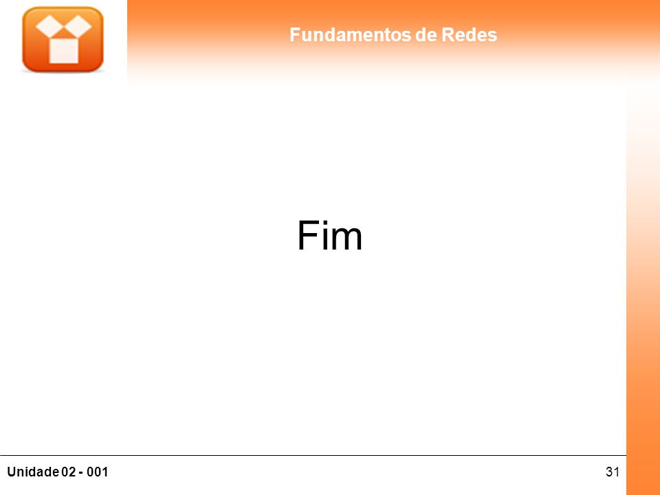 31Unidade 02 - 001 Fundamentos de Redes Fim