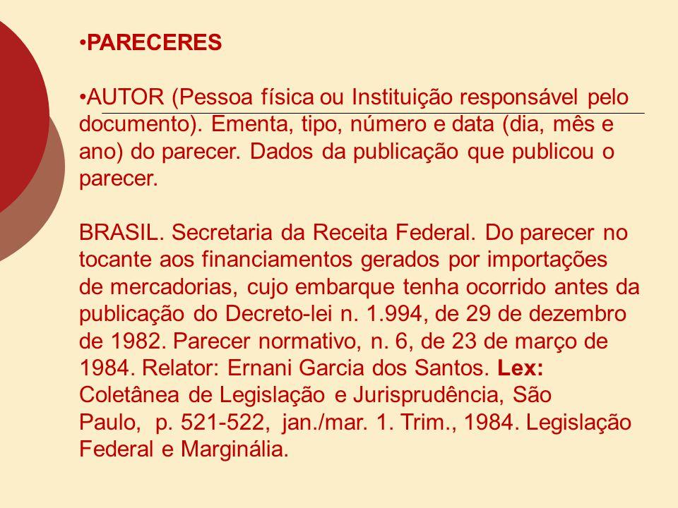 PORTARIAS E RESOLUÇÕES AUTOR.(entidade coletiva responsável pelo documento).