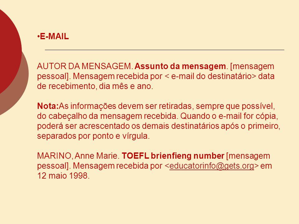FTP AUTOR (se conhecido).Título. Endereço ftp:, login:, caminho:, data de acesso.