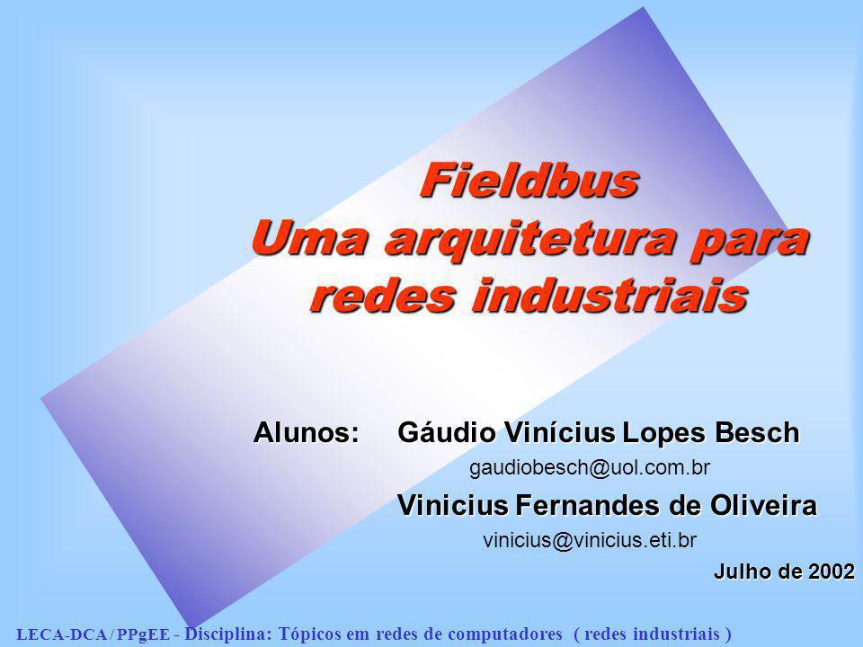 Fieldbus Uma arquitetura para redes industriais Alunos: Gáudio Vinícius Lopes Besch gaudiobesch@uol.com.br Vinicius Fernandes de Oliveira vinicius@vin