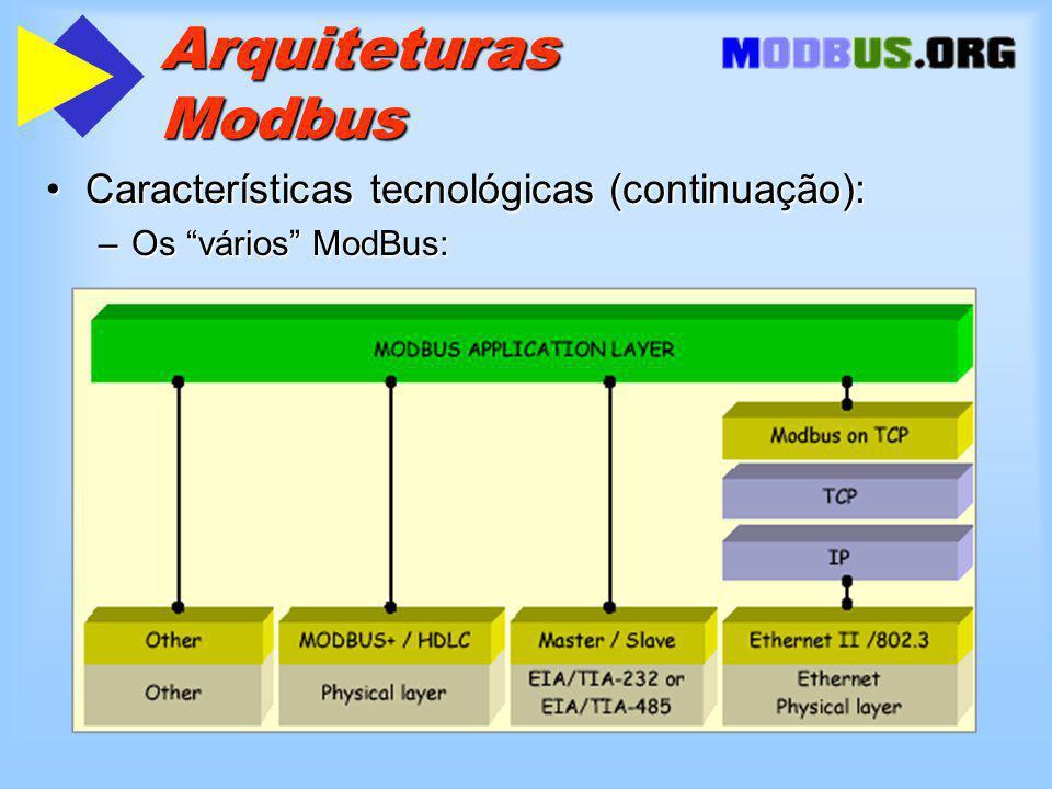 Arquiteturas Modbus Características tecnológicas (continuação):Características tecnológicas (continuação): –Os vários ModBus: