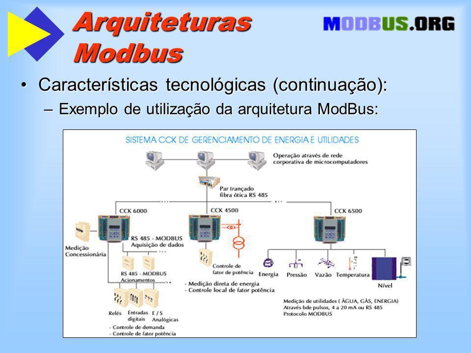Arquiteturas Modbus Características tecnológicas (continuação):Características tecnológicas (continuação): –Exemplo de utilização da arquitetura ModBus: