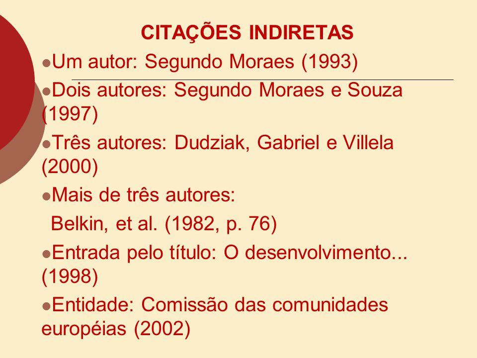 o Citações indiretas de diversos documentos da mesma autoria, publicados em anos diferentes e mencionados simultaneamente com as suas datas separadas