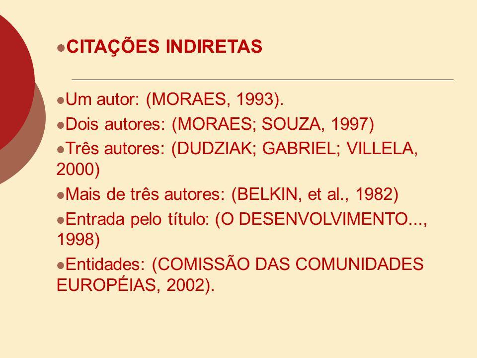 CITAÇÕES INDIRETAS Um autor: Segundo Moraes (1993) Dois autores: Segundo Moraes e Souza (1997) Três autores: Dudziak, Gabriel e Villela (2000) Mais de