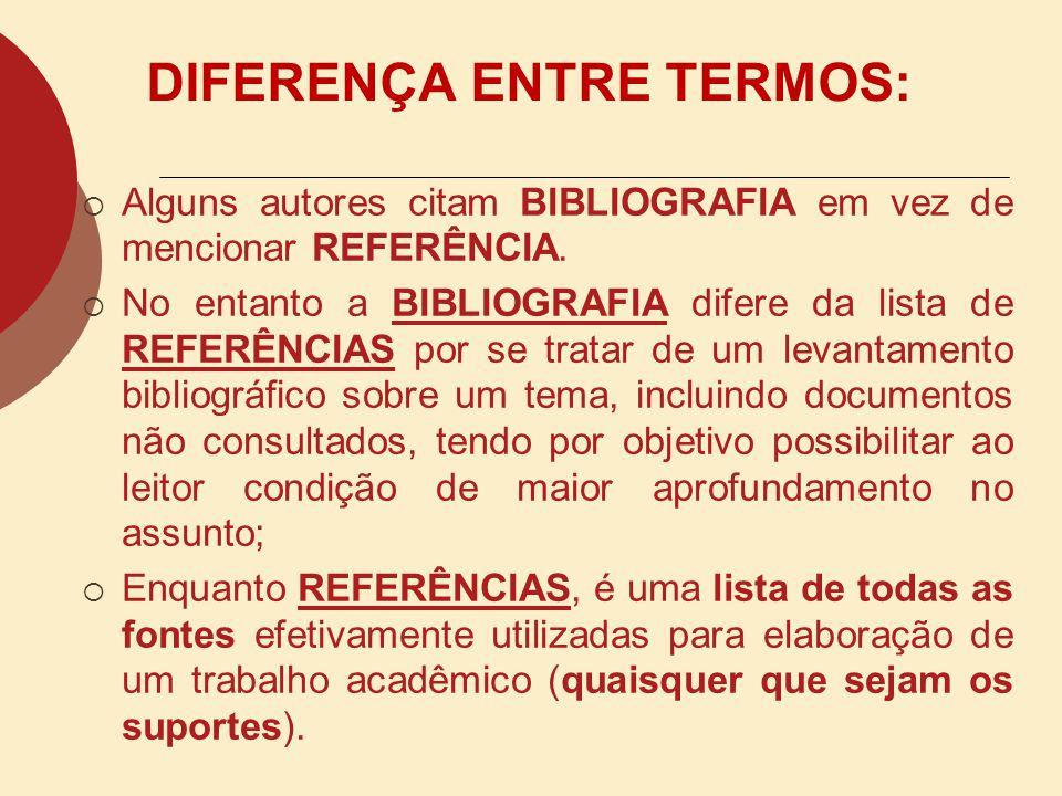 CITAÇÃO (NBR 10520/2002) FINALIDADE E DEFINIÇÃO Especificar as características exigíveis para apresentação de citações em documentos.